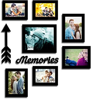 Painting Mantra Happy Memories - Set of 7 Individual wall Photo Frames with Memories (Black)