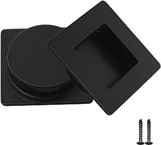 2 Pack Square Recessed Flush Door Pulls,Matte Black Finger Pulls,Metal Rectangular Recessed Pocket Door Pulls,2 inch Length Recessed Pulls