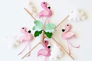 Flamingo baby mobile Flamingo nursery decor Tropical mobile Pink felt flamingo mobile Girl baby mobile Bird mobile