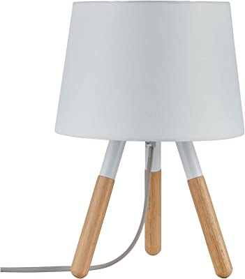Paulmann 79646 Neordic Berit Lampe de table, max. 1x20W, E27, Blanc/Bois, 230V, Tissu/Métal/Bois