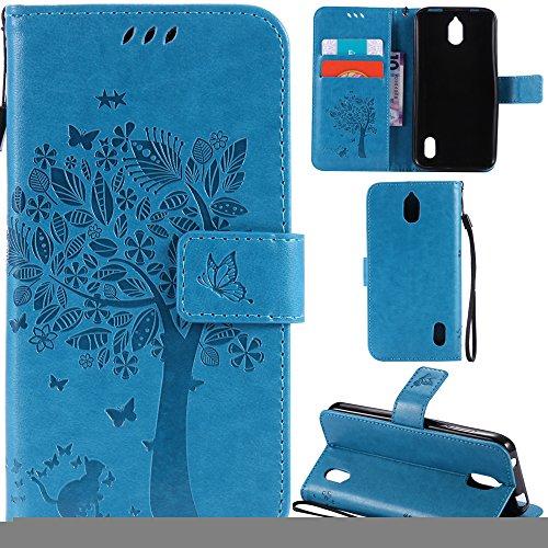 Ooboom® Huawei Y625 Hülle Katze Baum Muster Flip PU Leder Schutzhülle Handy Tasche Case Cover Standfunktion mit Kartenfächer für Huawei Y625 - Blau