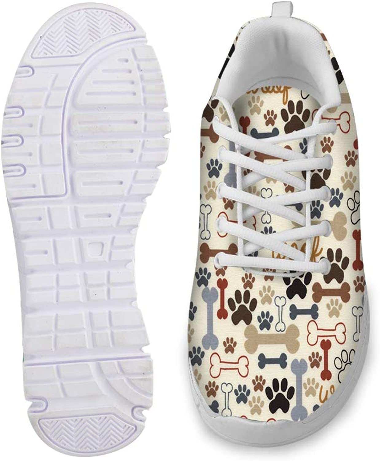 Owaheson Lace-up Sneaker Training shoes Mens Womens Woof Dog Bone Paws