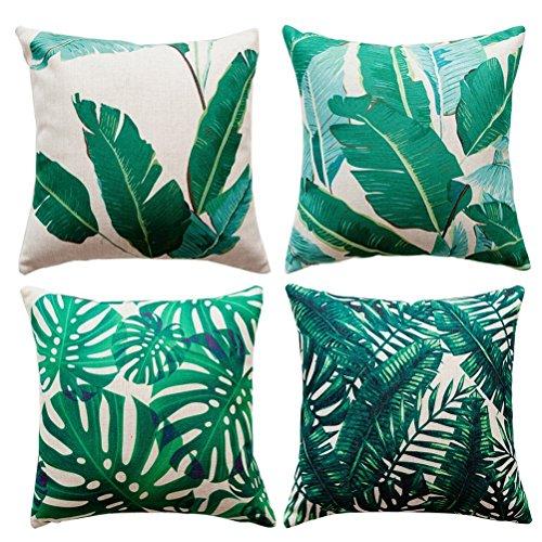 4 Pack Tropical Hojas Algodón Lino Throw Pillow Case Funda de Almohada para Cojín 45x45 cm