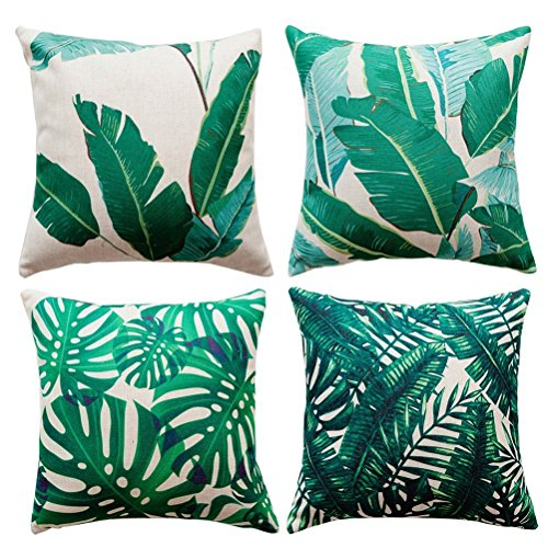 Gspirit 4 Pack Tropical Hojas Algodón Lino Throw Pillow Case Funda de Almohada para Cojín 45x45 cm