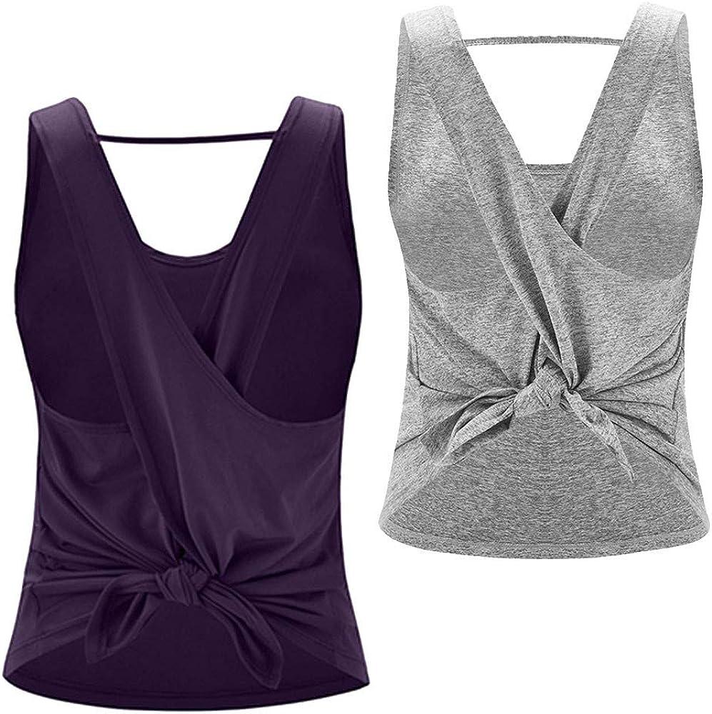 Strap Beauty Back Cross Sports Vest Fitness Tank Top Women Shirt Running Vest, 2 Pack
