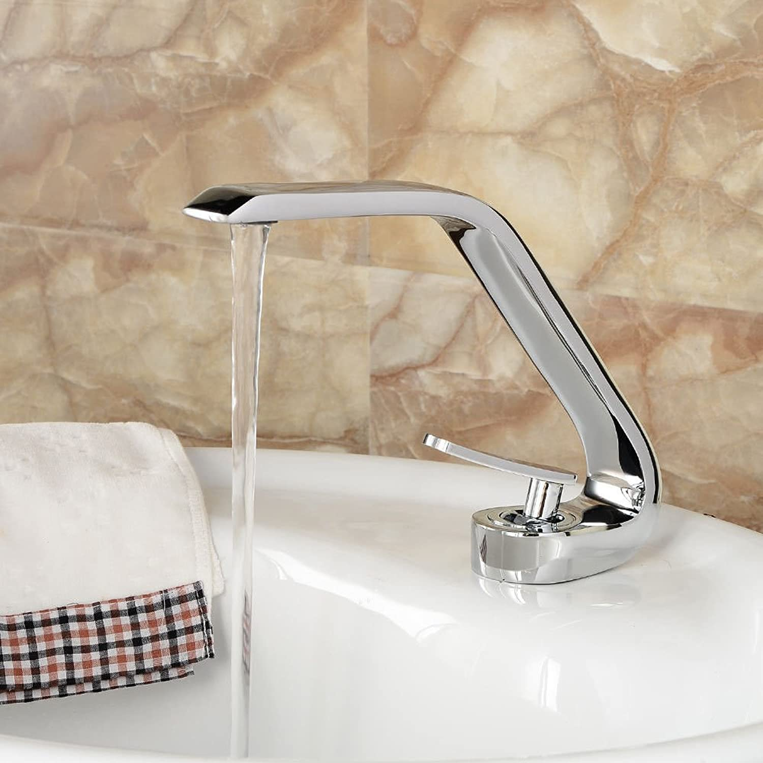 AQMMi Bathroom Sink Faucet Basin Mixer Tap Single Lever Hot and Cold Water Chrome Plating Silver Copper Basin Sink Tap Bathroom Bar Faucet