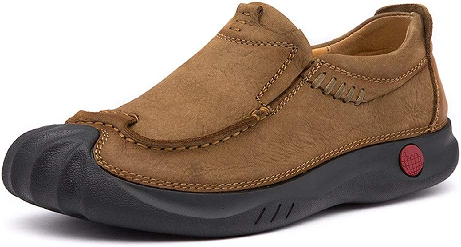 Easy Go Shopping Oxford shoes Men's Formal shoes Slip On Leather Personalized Anti-collision Toe Outsole Cricket shoes (color   Khaki, Size   6.5 UK)