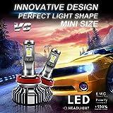 BeiLan Bombilla H7 LED Coche,V8 50W 8000LM LED Faros Delanteros Bombillas LED Lámparas para Coches, Reemplazo de Luz Halógena y Kit Conversione, Blanco 6500K,2pcs