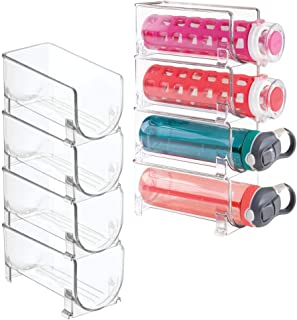 mDesign Plastic Free-Standing Water Bottle Holder Storage Organizer, Wine Rack for Kitchen Countertops, Table Top, Pantry, Fridge - Stackable, Each Rack Holds 1 Bottle - 8 Pack - Clear