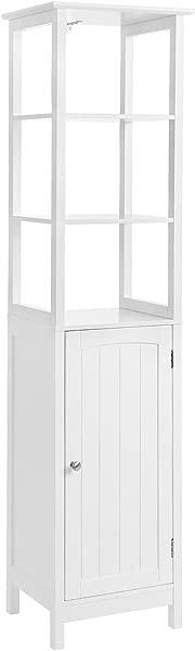 VASAGLE Floor Cabinet Multifunctional Bathroom Storage Cabinet With 3 Tier Shelf Free Standing Linen Tower Wooden White UBBC63WT
