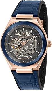 R8821139002 Triconic Skeleton Automatic Wrist Watch with Blue Strap and Rose Gold Case