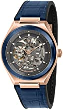 Maserati R8821139002 Triconic Skeleton Automatic Wrist Watch with Blue Strap and Rose Gold Case