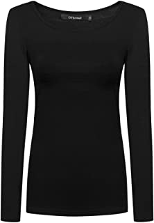 Women's Long Sleeve T-Shirt Scoop Neck Basic Layer Spandex Shirts