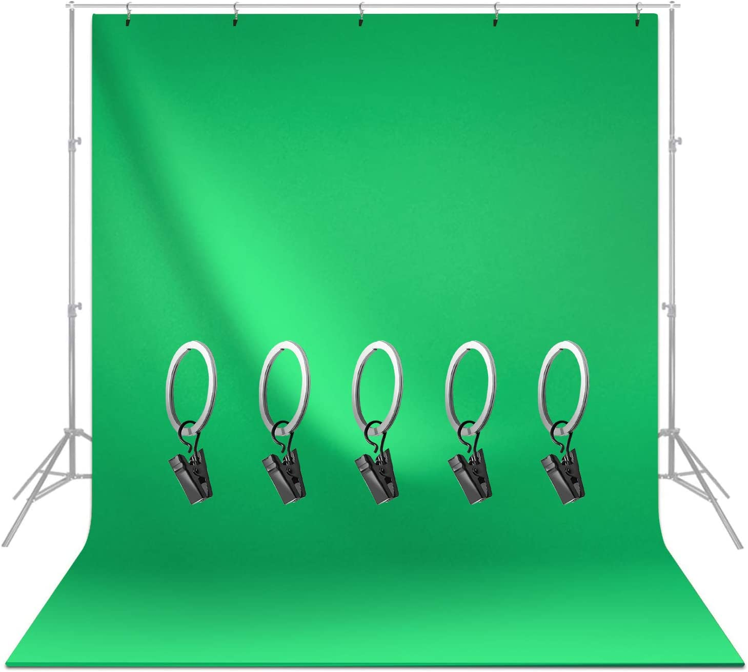 LimoStudio, 6 x 9 ft. Green Chromakey Screen Backdrop Muslin with Background Clip Holder, Soft Smooth Silk Non-glossy Texture, AGG1338