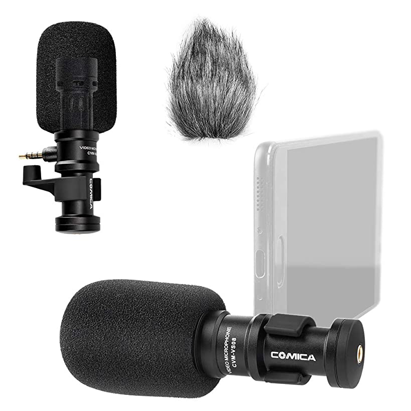 Comica CVM-VS08 Microphone for Smartphone,Cardioid Condenser Directional Shotgun Video iPhone Microphone for Phone,iPad,LG/Huawei Android Smartphone with Wind Muff (3.5mm Jack)