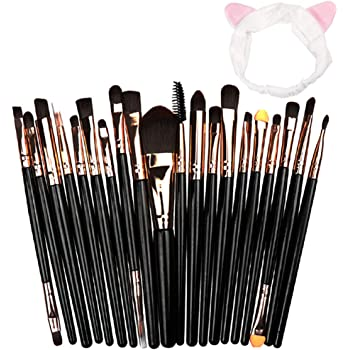 Brochas de Maquillaje, 20 Piezas Pinceles de Maquillaje Profesional, Set de pinceles de maquillaje para aplicación de base, colorete, cejas, ojos, etc. (gold Oro rosa + banda para el cabello): Amazon.es: Belleza