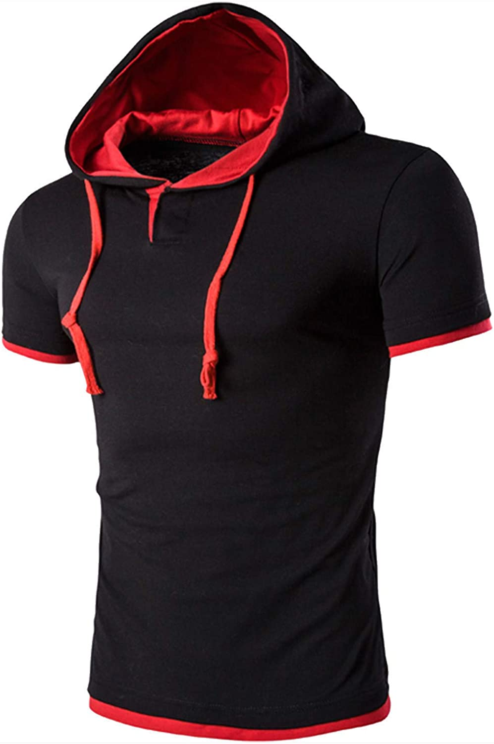 FUNEY Men's Hipster Hip Hop Short Sleeve Pullover Hoodies Shirts Fashion T-Shirt for Men Muscle Gym Fitness Workout Hoodies