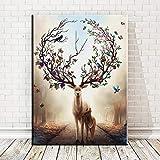 Arte de la pared lienzo pintura animal ciervo imagen sin marco póster e imprimir pintura al óleo para sala de estar decoración del hogar A4 40x60cm