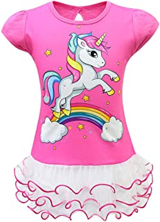 Cychelry Little Girls Unicorn Dress Cute Summer Short Sleeve Horse and Rainbow Print Casual T-Shirt Dress with Tutu Lace