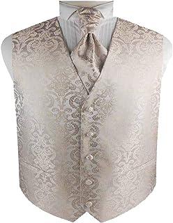 Men's Tuxedo Wedding Paisley Waistcoat&Ascot Tie and Pocket Square