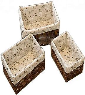 Panier de rangement Lot de 3 décoratifs for la maison Stockage Bins main Paniers en osier de stockage, paniers décoratifs ...
