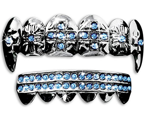 Big Dawgs Bling Silver Hip Hop Cross Vampire Fangs Top & Bottom Grillz Set (Blue Stones)