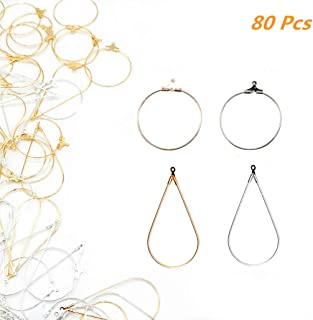 Xinhongo 80 Pcs Teardrop and Round Beading Hoop Earring Finding with Loop Jewelry Finding for Earring Jewelry Making Earring DIY Craft(Gold/Silver) (80)