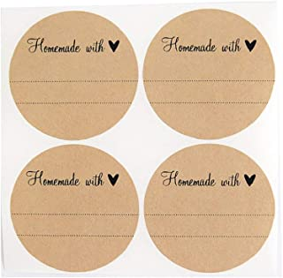 Homemade with Love Labels with Heart by Once Upon Supplies, Stickers for Homemade Gifts, 2.5 Inches Size for Wide Mouth Mason Jars, 36 Pcs
