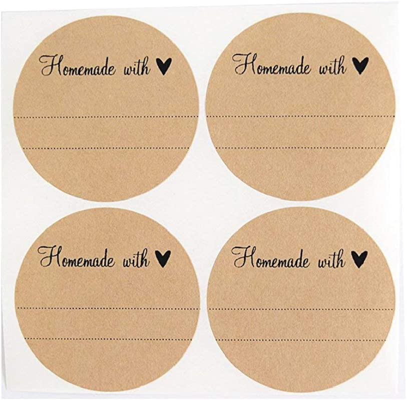 Homemade With Love Labels With Heart By Once Upon Supplies Stickers For Homemade Gifts 2 5 Inches Size For Wide Mouth Mason Jars 36 Pcs