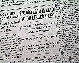 Outlaw JOHN DILLINGER GANG Flint Michigan Bank ROBBERY Holdup 1934 Old Newspaper THE NEW YORK TIMES, May 19, 1934