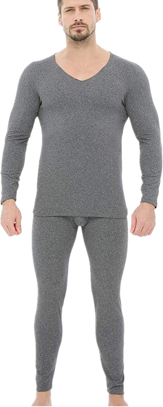 Men's Soft Thermal Underwear Long Johns Set with Thin Fleece Lined Base Layer Winter Warm Top & Bottom