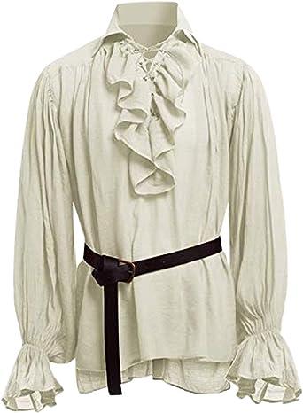 STRIR Camisa con Cordones renacentista Medieval Túnica Medieval Traje Caballero Viking Guerrero Camiseta con Cinturón para Hombres Disfraz de Pirata ...