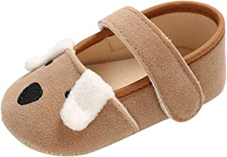 FreshZone Baby Girl Solid Bow Princess Shoes Newborn Soft Anti-Slip Hook/&Loop First Walker