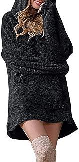 Women's Hoodie Plush Fleece Loose Long Sleeve Drawstring Sweatshirt Pullover with Pocket