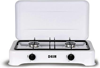 HJM CAG02 Hornillo gas, Metal, Blanco/negro
