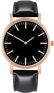 NXDA Wrist watch luxury watch quartz movement simulation leather strap watch stainless steel dial casual bracelet watch (Black)