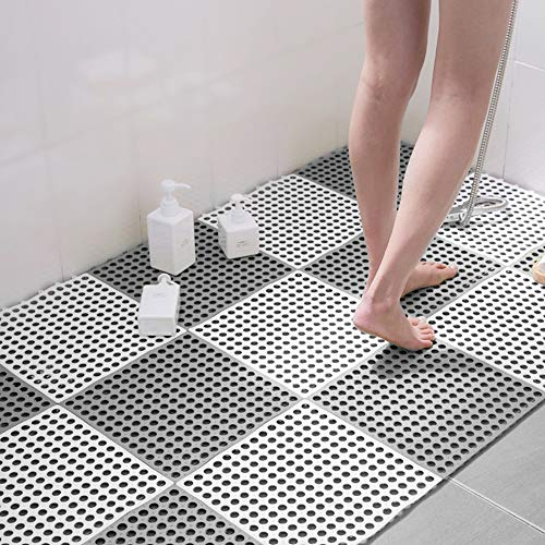 Gelrova お風呂マット 滑り止めマット 浴室マット すのこ 洗い場マット 浴槽マット 転倒防止 介護用 抗菌防カビ 無臭(ホウイト 大判 12PCS)
