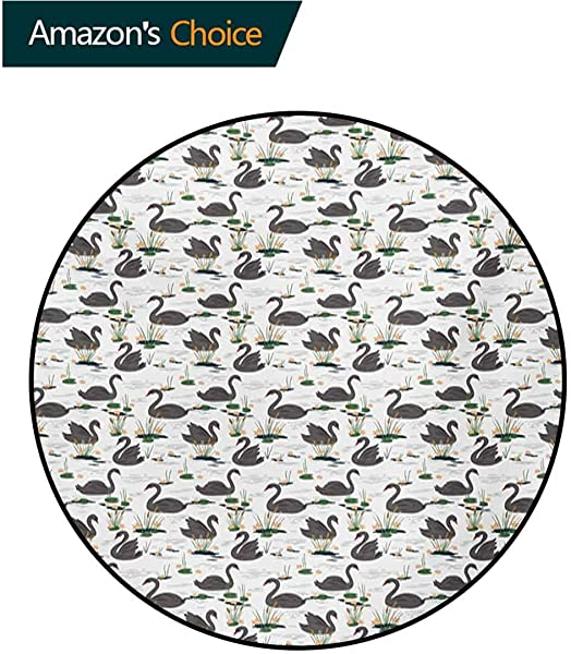 RUGSMAT Swan Small Round Rug Carpet Grey Animals Swimming On A Lake With Plants Water Lilies And Cattails Calm Nature Door Mat Indoors Bathroom Mats Non Slip Diameter 35 Inch Multicolor