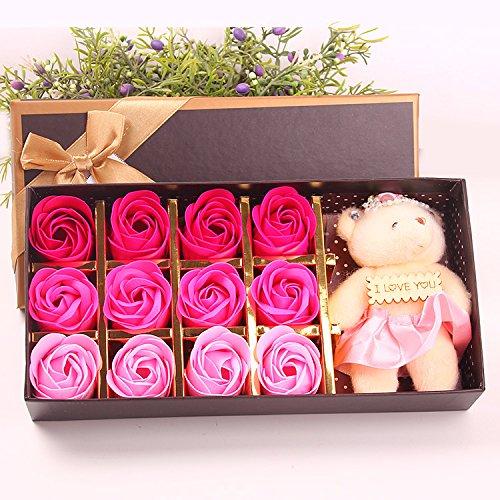 Menshow(メンズショウ) 母の日 花 熊のぬいぐるみ 石鹸の花 枯れない花 クマ付き 綺麗な花束 造花 ソープフラワー ローズフラワー 贈り物 誕生日 バレンタインデー 結婚 お祝い bear-fen