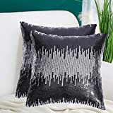 PartyDelight 18'X18' Sequin Pillow Cases Decorative for Bed, Sofa, Black and Silver, Set of 2.
