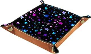 Plateau à bijoux Étoiles de couleur Plateau de rangement pour bijoux en cuir Petite boîte de rangement Organisateur de dés...