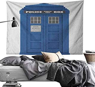dsdsgog Tapestry Trippy Police,Doctors Blue House British Landmark Phone Box Police Call Image Employment Theme, Blue and White,W60 xL40 for Living Room