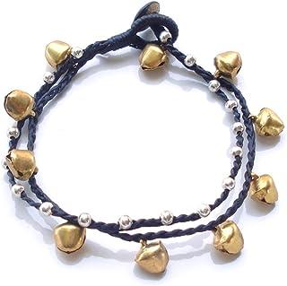 Cavigliera fatta a mano Idin, corda di cera a doppio filo con perline color argento e campanelle dorate