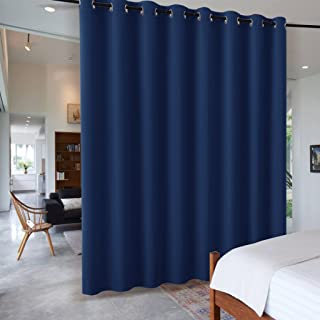 RYB HOME Dinning Area Space Room Divider, Light Block Noise Reduce Insulated Curtain Drape Screen from High Ceiling to Floor for Cabinet/Bedroom, Wide 15ft x Long 9ft, Navy Blue, 1 Panel