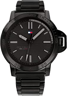 Tommy Hilfiger Men'S Black Dial Ionic Plated Black Steel Watch - 1791590