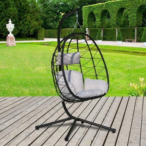 SEEJOY Swing Egg Chair, Hammock Chair, Hanging Chair, UV Resistant Cushion with Steel Stand, Indoor Outdoor Patio Porch Lounge Wicker Rattan Hand Made Chair