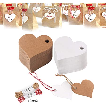 Gift Tags, 300 Pieces White & Brown Kraft Tags, Hang Heart Tags Card, Strung Paper Tags Favour, Xmas Gift Tags, Blank Crafts DIY Tag with 20 Meters String