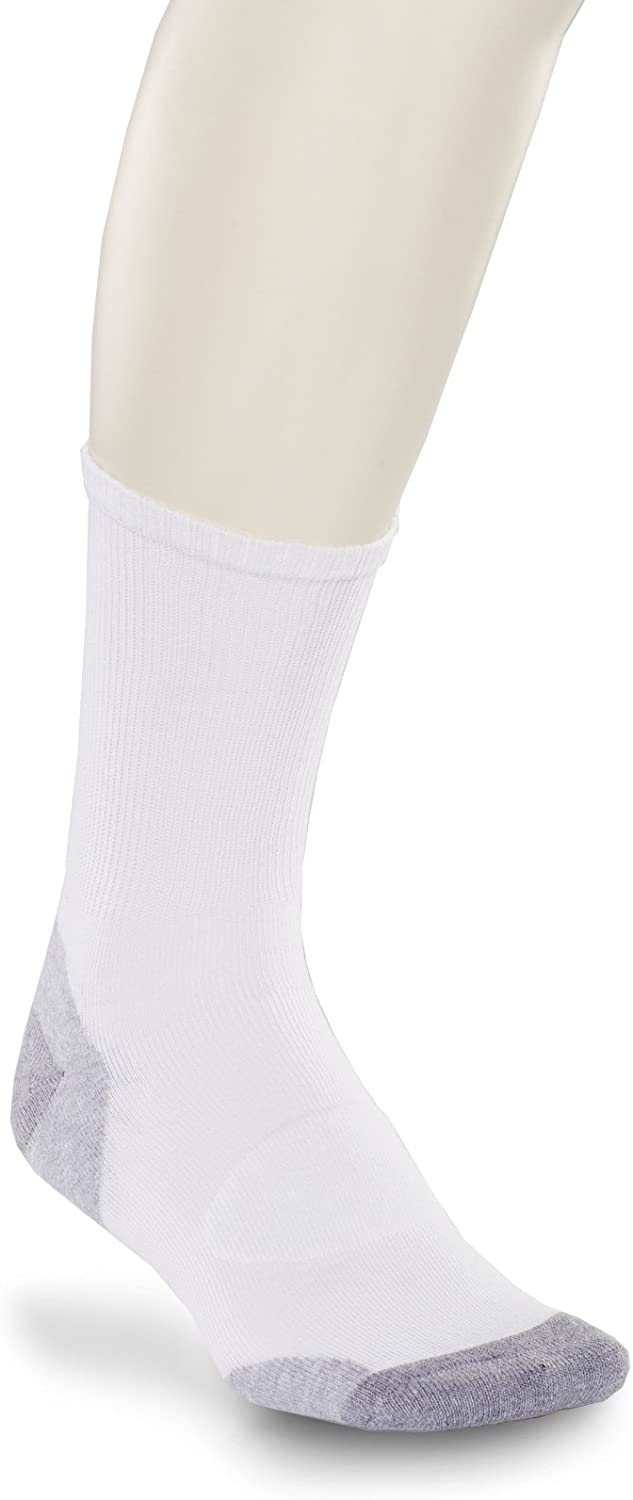 Harbor Bay by DXL Big and Tall 3-Pack Balance Point Continuous Comfort Crew Socks, White, 13/16