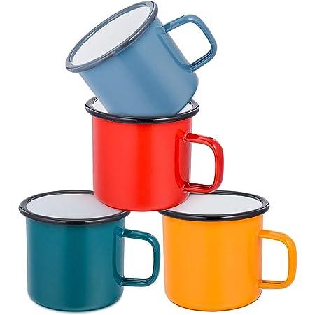 Coffee Mug, E-far 12 Ounce Enamel Coffee Tea Camping Cup Mugs, Red / Yellow / Blue / Green, Healthy & Bright Colors - Set of 4