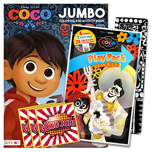 Disney Coco Coloring Book Set with Stickers, Crayons and Coloring Activity Book Bundled Includes Separately Licensed GWW Reward Stickers and Bookmark for Kids